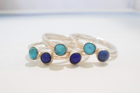 Ocean Stacking Ring Set //  Sterling Silver // Turquoise and Lapis