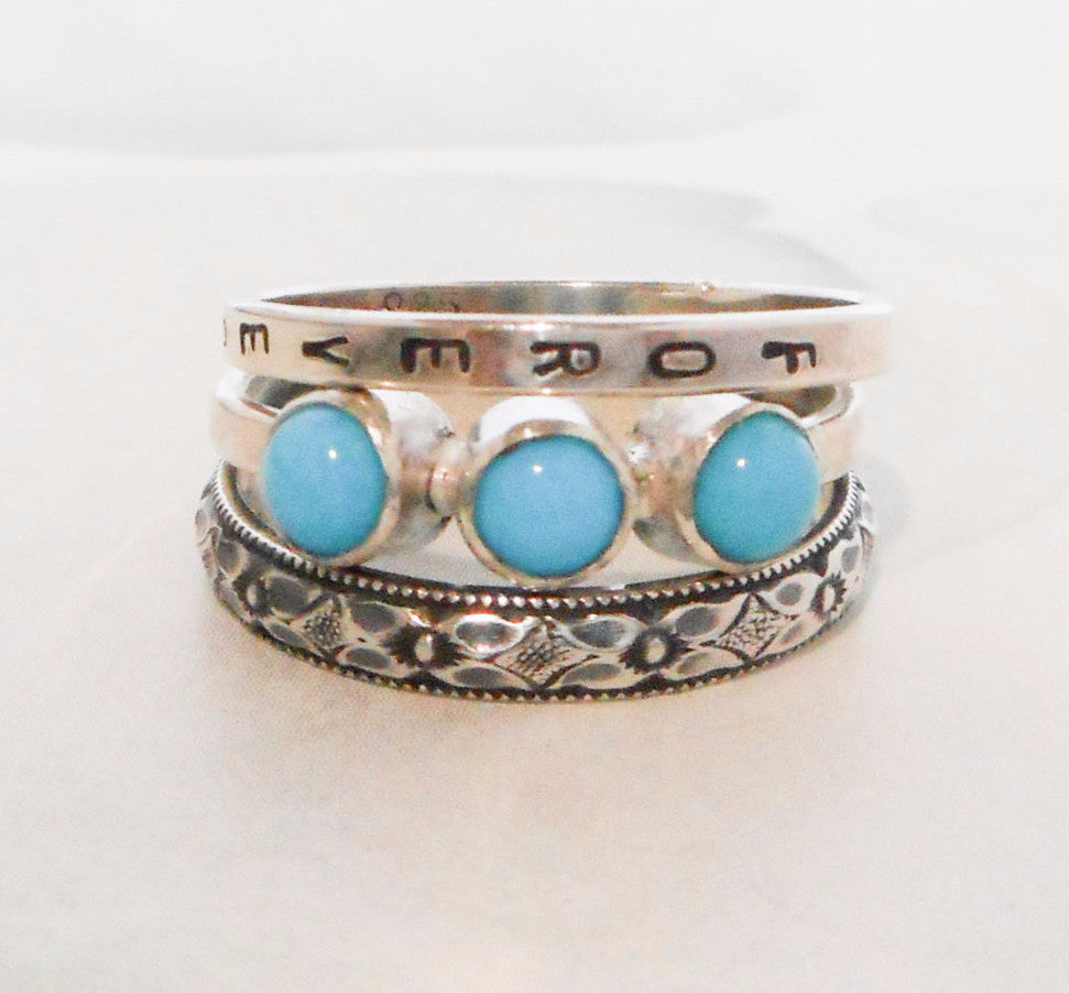5b9603953d7 Rustic Floral and Triple Turquoise Ring // Personalized Stacking Ring //  Sterling Silver and Sleeping Beauty Turquoise