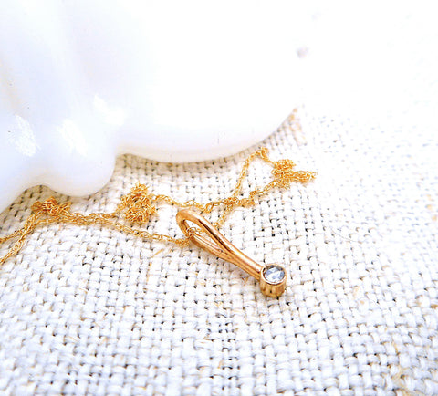 Tiny Diamond Necklace  // Solid 14k Gold
