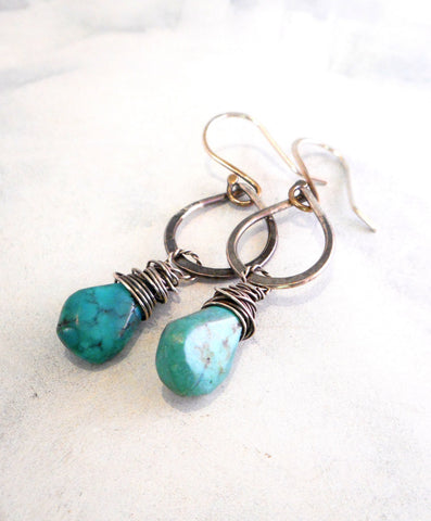 Turquoise Drop Earrings  //  Natural Turquoise and Sterling Silver