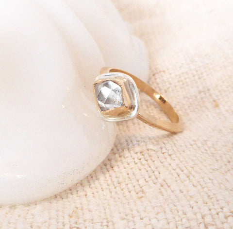 Herkimer Diamond Ring // Solid 14k Gold and Sterling Silver Accent // Size 7