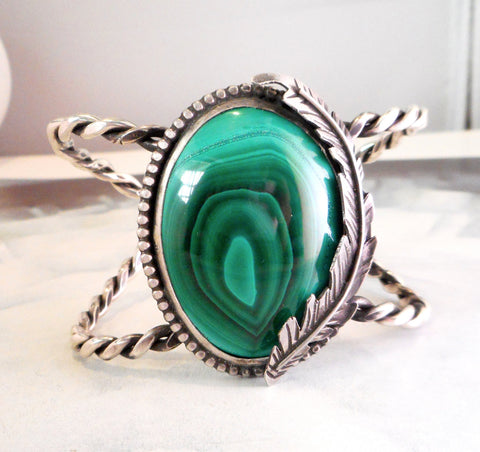 Malachite Feather Cuff Bracelet  // Natural Malachite and Sterling Silver
