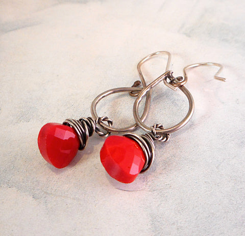 Cherry Drop Earrings  //  Faceted Czech Glass and Sterling Silver