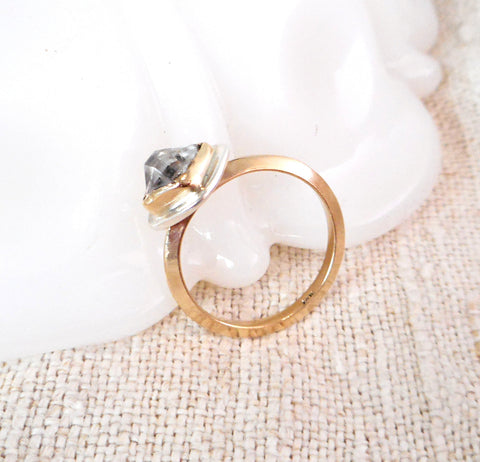 Herkimer Diamond Ring // Solid 14k Gold and Sterling Silver Accent // Size 6