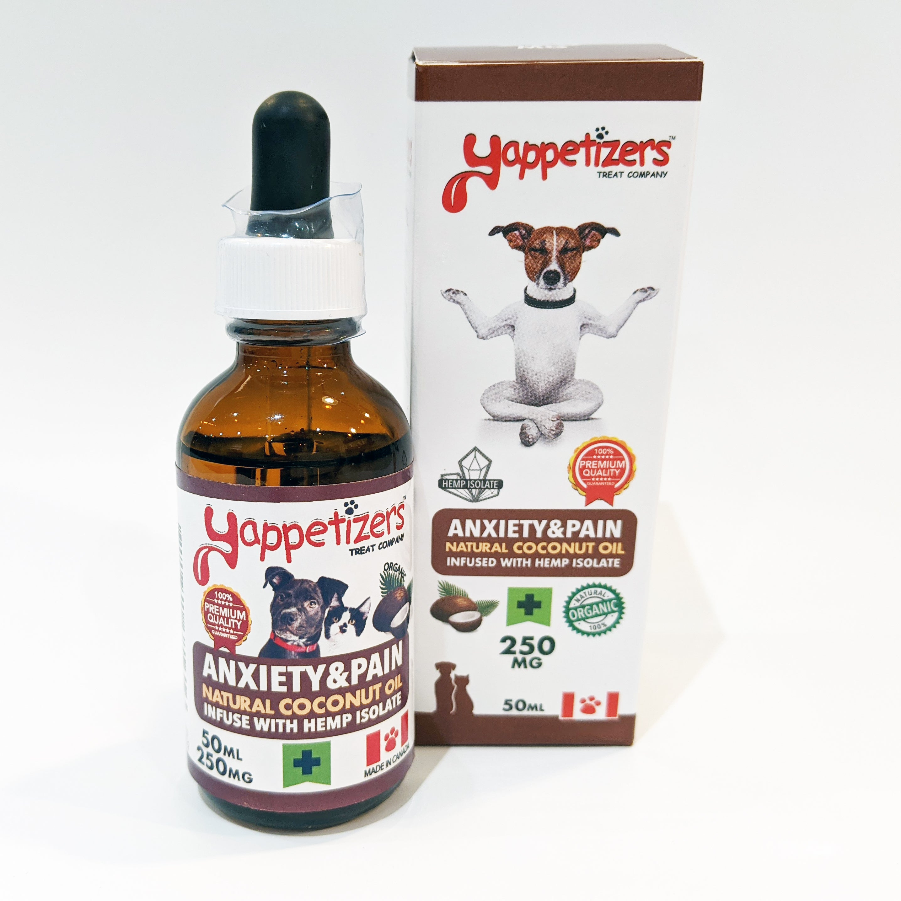 Yappetizers – Anxiety & Pain Hemp Isolate 250mg in Coconut Oil 50ml