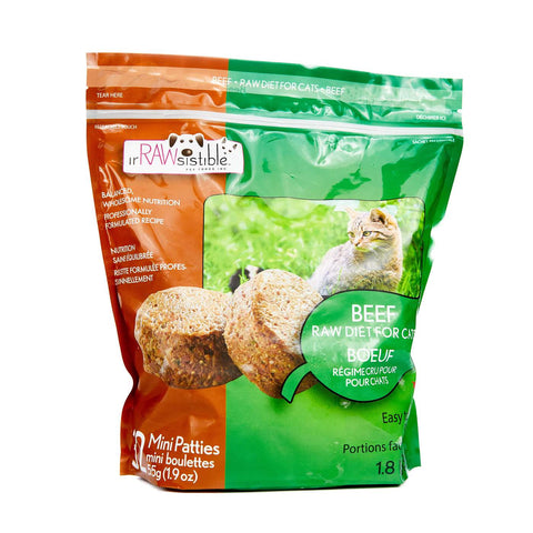 IrRAWsistible -  Boneless Beef Mini Patties for CATS 1.8kg