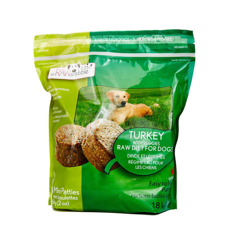 IrRAWsistible - Boneless Turkey Mini Patties for Dogs 1.8kg