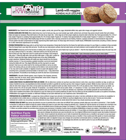 IrRAWsistible - Boneless Lamb Mini Patties for Dogs 1.8kg