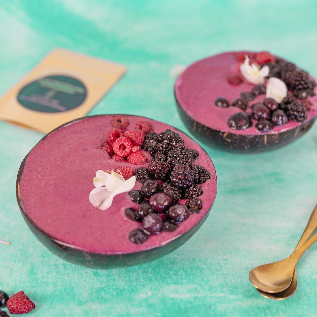 pink pitaya protein smoothie bowl with elevenlabs plant protein and super greens