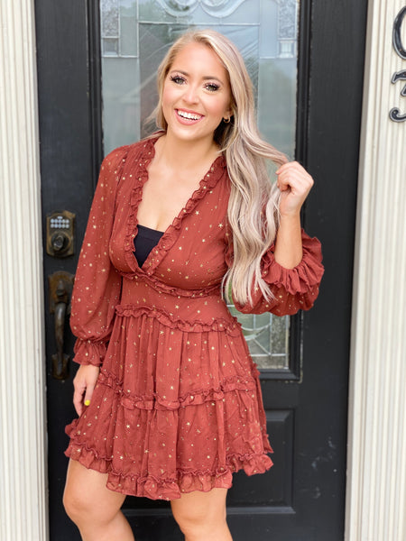 Star Studded Deep V Neck Tiered Dress
