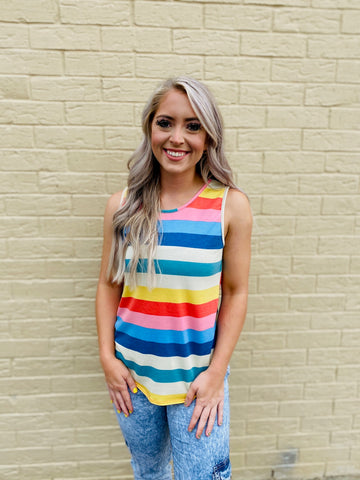 Bold and Bright Multi Colored Stripe Sleeveless Top