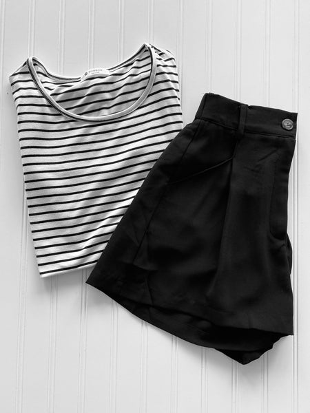 All Day Chic Pleated High Waist Black Shorts