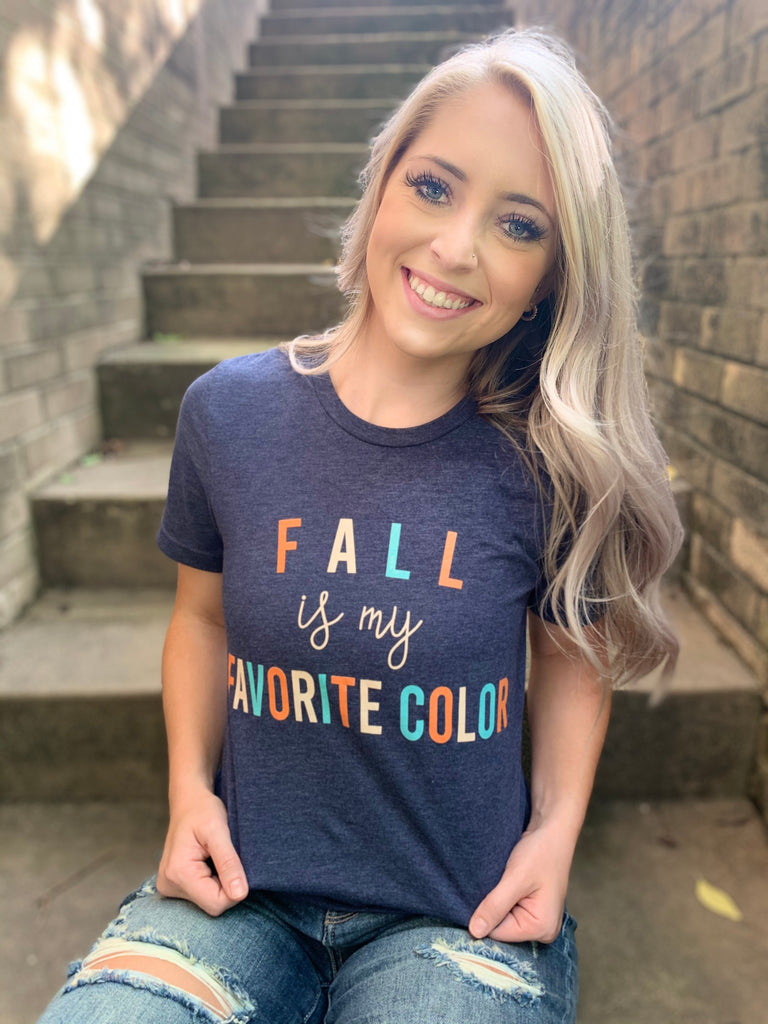 Fall is My Favorite Color Heather Navy Tee