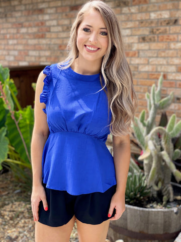 Royal Paradise Sleeveless Ruffle Empire Waist Blouse