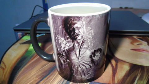 Han Solo Frozen in Carbonite 2D white Photo Mugs or black Morphing mug