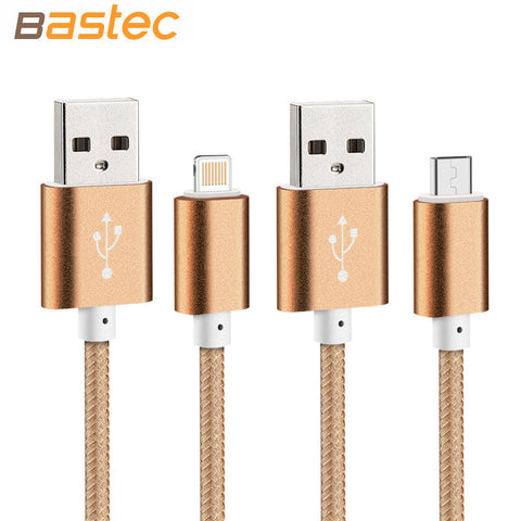 MB USB Nylon Line and Metal Plug Micro Cable for iPhone 6 6s Plus 5s 5 iPad mini / Samsung / Sony / HTC