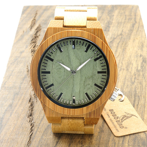 Wooden Unique Men's Wrist Watch with Classic Folding Clasp Quarzt Movement
