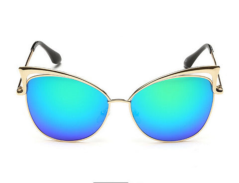 MB Women Gold Retro Cat Eye Sunglasses