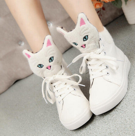 Cute Cat head boots casual