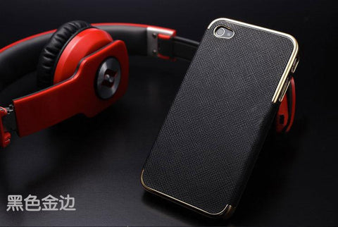 MB Luxury Leather with Gold and Silver Frame Chrome Hard Back Case Cover For iPhone 4 4S / 5 5S SE / 6 6S / 6 6S Plus