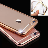 Ultra Thin Rose Gold Plating Crystal Clear Case For Iphone 6 6s Plus 5 5S SE