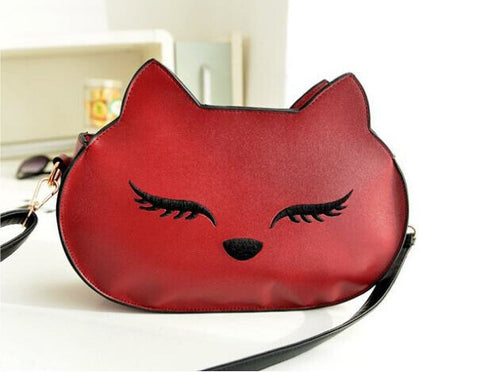 Cat Head Messenger  Leather Handbag