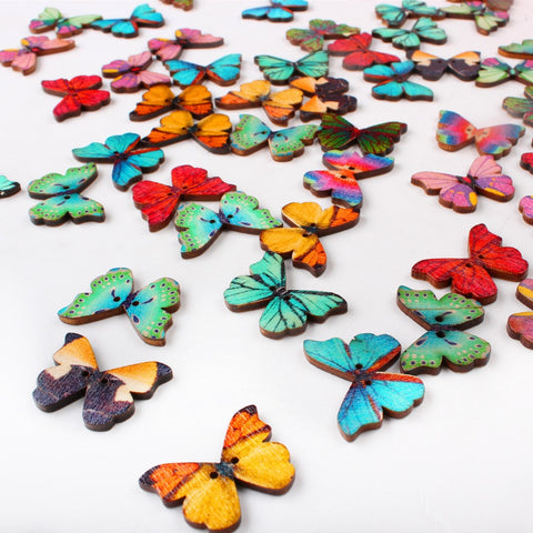 Mixed Butterfly Wooden Buttons for Sewing Scrapbooking DIY 50pcs/Lot