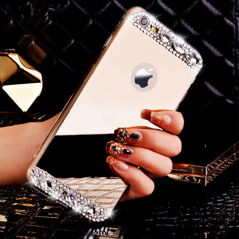 Crystal Bling Mirror TPU Soft Case Cover For iPhone