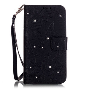 Retro Butterfly Diamond Leather Cover For iPhone 6 Plus 6s Plus
