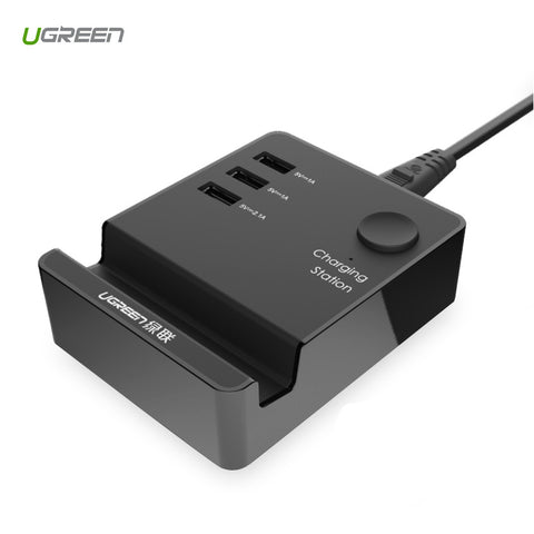 Ugreen USB Wall Charger Universal Travel Charger 5V 4A US EU UK Plug 3 Port Mobile Phone Smart Charger for iPhone Samsung Xiaomi