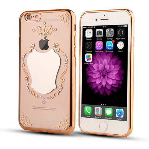 M&B Electroplated Mirror Back Cover For iPhone 6 6S / Plus Crystal Bling Diamond Crown Clear Gel Shell Case
