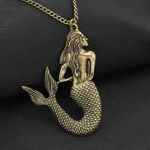 Vintage Bronze/Gold/Silver Little Mermaid Necklace-FREE