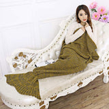 195x95CM Yarn Knitted Crochet Mermaid Tail Blanket