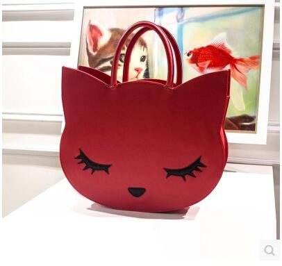 Large Cat Head Leather Bag