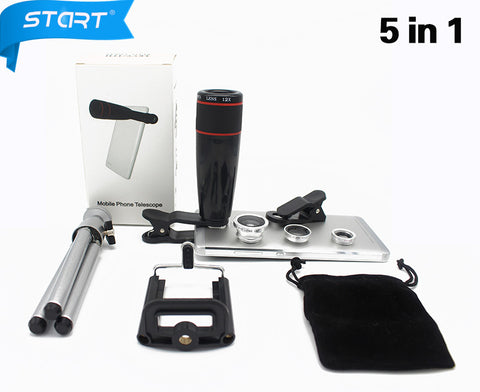 MB 5in1 12X Zoom Camera Lens 3in1 Clip on Lens Kit Wide Angle Fish Eye Macro for IPhone Samsung JT56