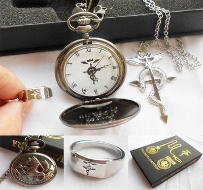 Fullmetal Alchemist Pocket Watch + Necklace + Ring Jewelry Sets