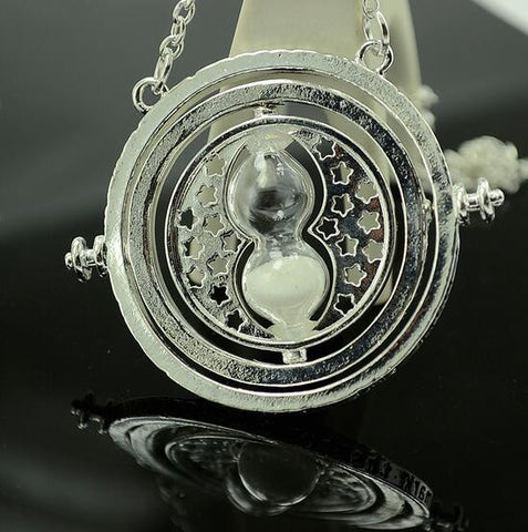 HP Time Turner Necklace Hermione Granger Rotating Spins Hourglass