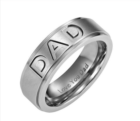 "DAD Ring Engraved ""Love You Dad"" Father's Day Present"