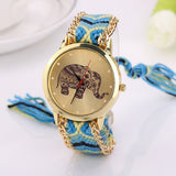 Elephant Pattern Weave Gold Watches