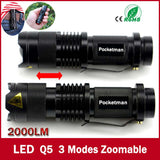 Waterproof LED Flashlight Mini Black CREE 2000LM 3 Modes Zoomable Free Shipping