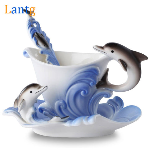 Dolphin Enamel Coffee European Cup with spoon
