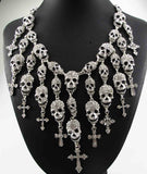 Skull Skeleton Cross Choker Necklaces