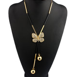Elegant Bohemia Butterfly Long Beaded Chain Tassel Necklace