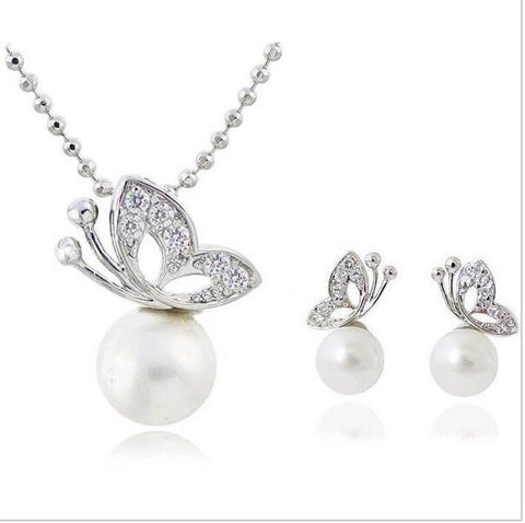 Full Rhinestone Butterfly Jewelry Sets