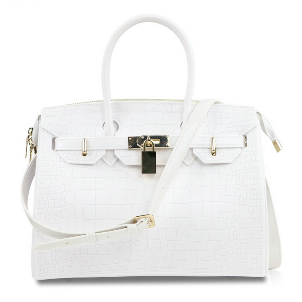 blk sheep biki 30 croc white vegan handbag
