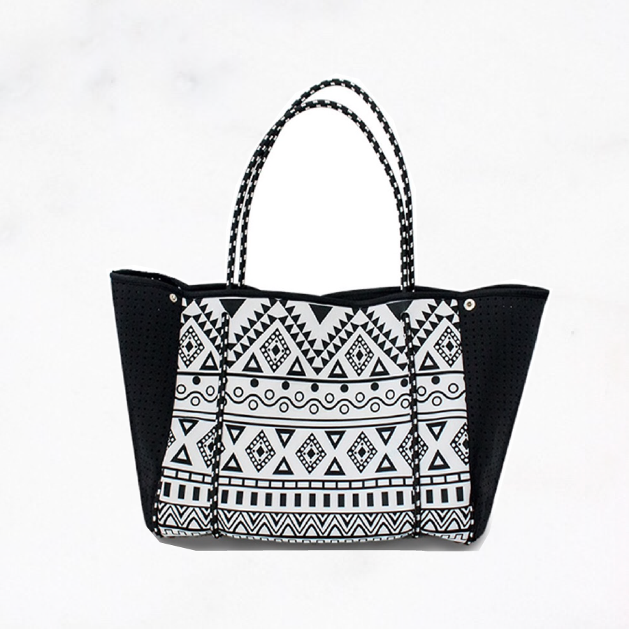 Blk sheep nila 40 black-white vegan neoprene bag