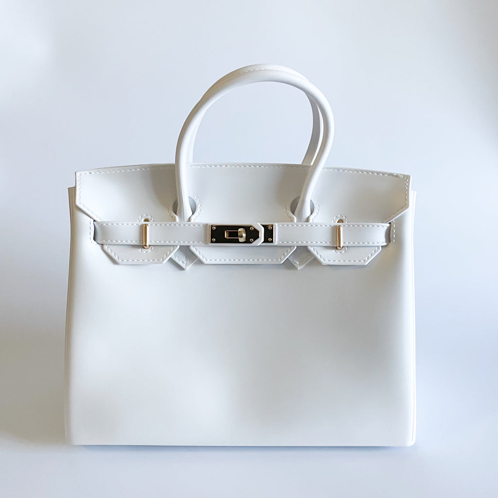 BIki 30 matte white blk sheep vegan handbag