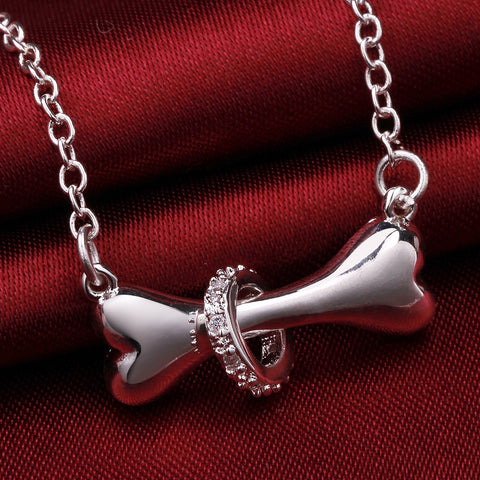 Silver Dog Bone Ring Necklace