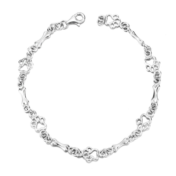 Sterling Silver Dog Bone Paw Print Bracelet
