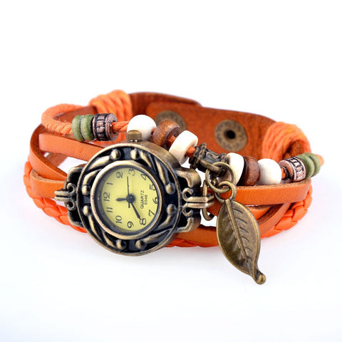 Vintage Leather Strap Bracelet Watch